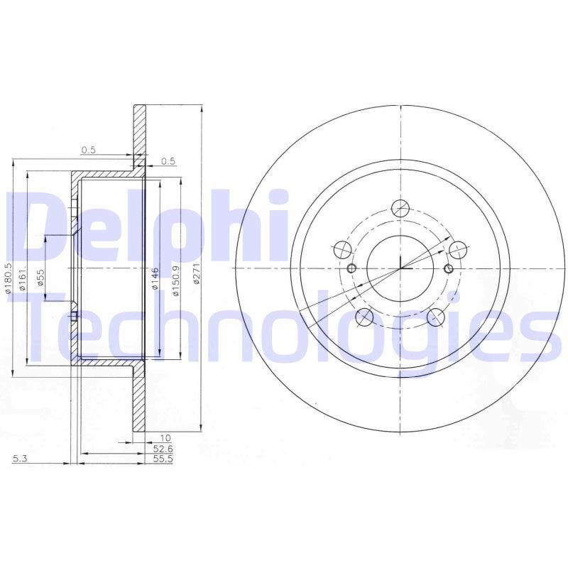 DELPHI  BG3922 Bremsscheibe Bremsscheibendicke: 10mm, Ø: 271mm
