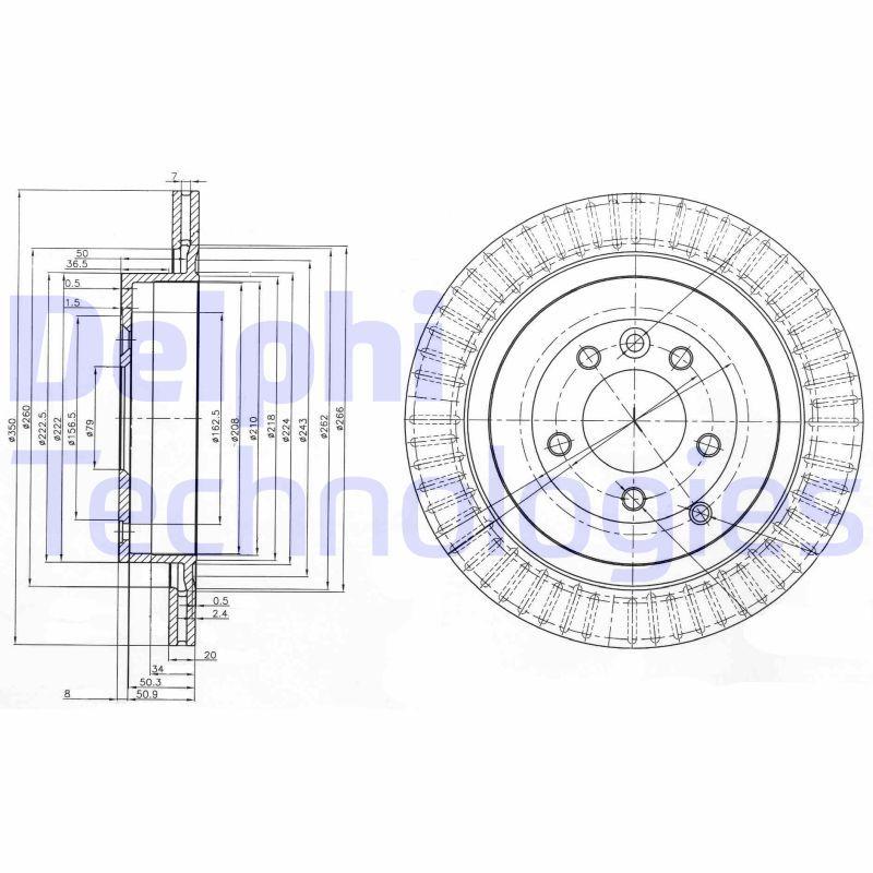 DELPHI  BG3925 Bremsscheibe Bremsscheibendicke: 20mm, Lochanzahl: 5, Ø: 350mm