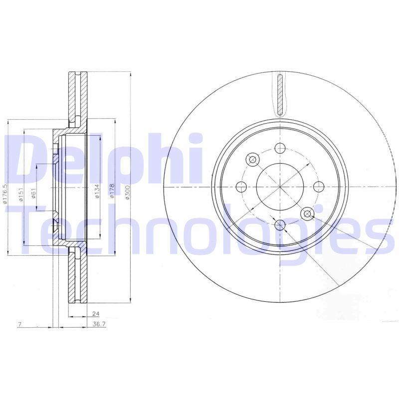 DELPHI  BG3929 Bremsscheibe Bremsscheibendicke: 24mm, Ø: 300mm