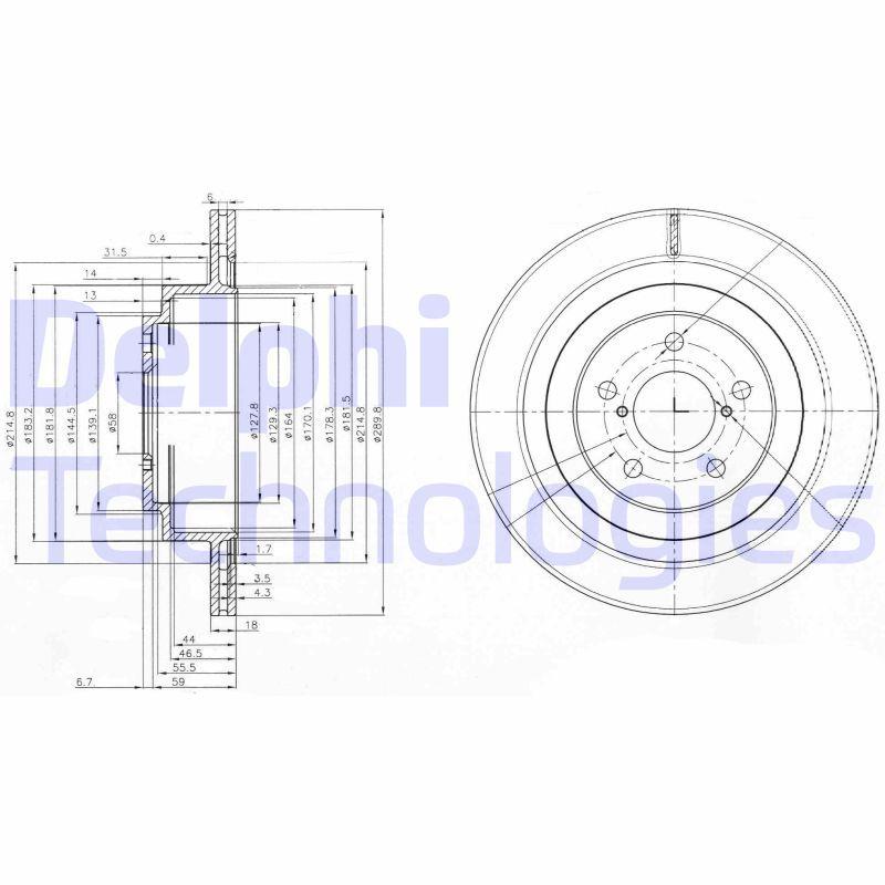 DELPHI  BG3931 Bremsscheibe Bremsscheibendicke: 18mm, Ø: 290mm