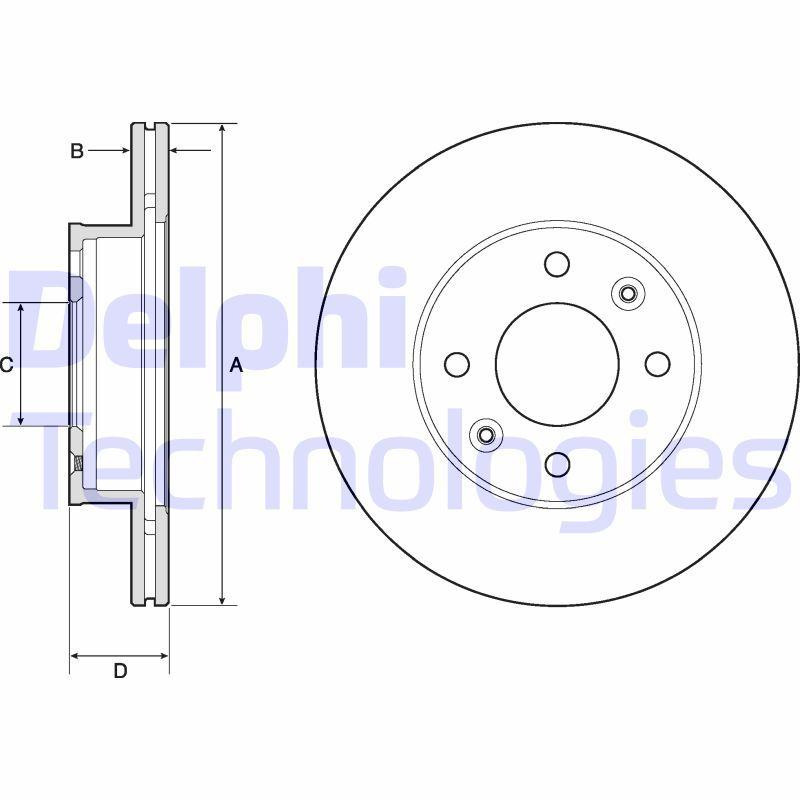 DELPHI  BG3935 Bremsscheibe Bremsscheibendicke: 18mm, Lochanzahl: 4, Ø: 241mm