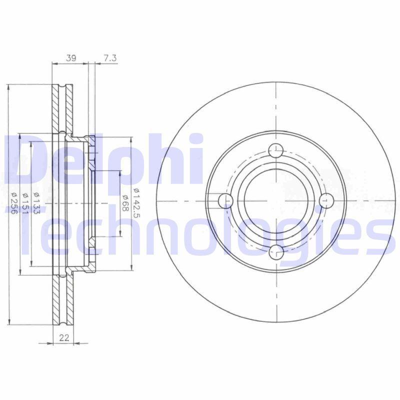 DELPHI  BG2272 Bremsscheibe Bremsscheibendicke: 22mm, Ø: 257mm