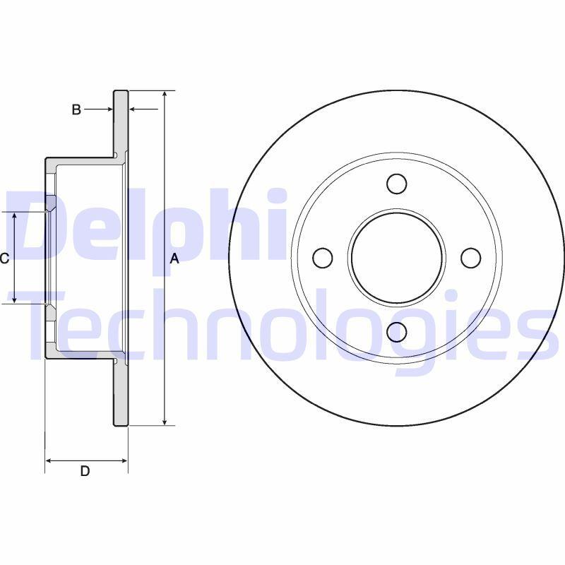 DELPHI  BG2343 Bremsscheibe Bremsscheibendicke: 10mm, Ø: 245mm