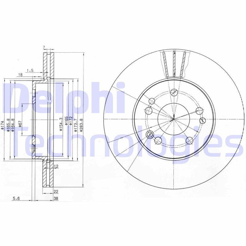 DELPHI  BG2345 Bremsscheibe Bremsscheibendicke: 22mm, Lochanzahl: 5, Ø: 284mm