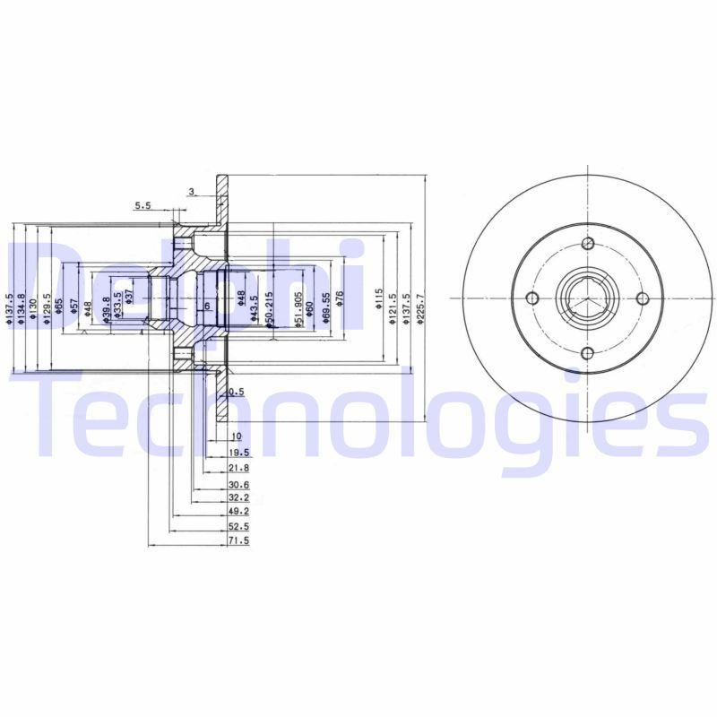 DELPHI  BG2389 Bremsscheibe Bremsscheibendicke: 10mm, Lochanzahl: 4, Ø: 226mm