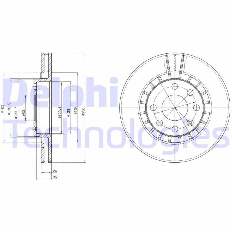 DELPHI  BG2443 Bremsscheibe Bremsscheibendicke: 24mm, Ø: 256mm