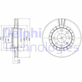 DELPHI  BG2443 Bremsscheibe Bremsscheibendicke: 24mm, Lochanzahl: 4, Ø: 256mm