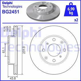 DELPHI  BG2451 Bremsscheibe Bremsscheibendicke: 17mm, Lochanzahl: 4, Ø: 231mm
