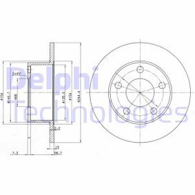DELPHI Bremsscheibe BG2746 für AUDI A6 (4B2, C5) 2.4 ab Baujahr 07.1998, 136 PS