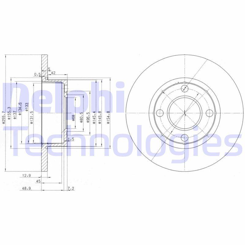 DELPHI  BG2752 Bremsscheibe Bremsscheibendicke: 13mm, Ø: 256mm