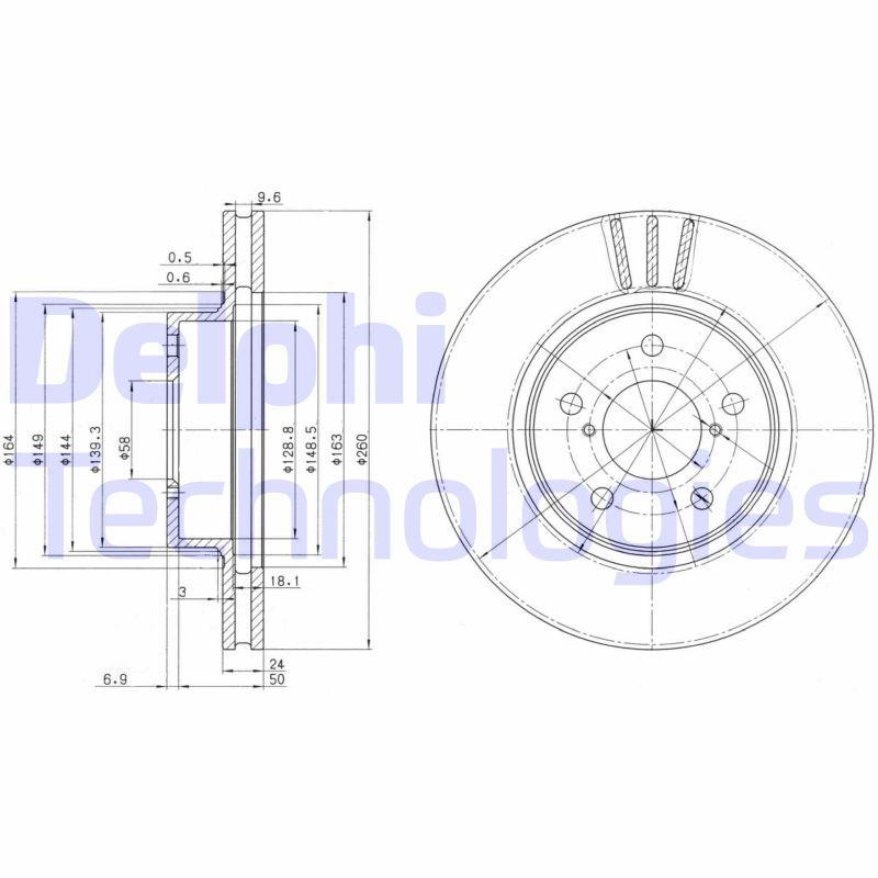 DELPHI  BG2767 Bremsscheibe Bremsscheibendicke: 24mm, Lochanzahl: 5, Ø: 260mm