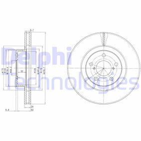 Bremsscheibe Bremsscheibendicke: 24mm, Lochanzahl: 5, Ø: 277mm mit OEM-Nummer 26300-AE091