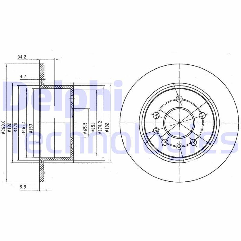 DELPHI  BG2870 Disque de frein Épaisseur du disque de frein: 10mm, Nbre de trous: 5, Ø: 270mm