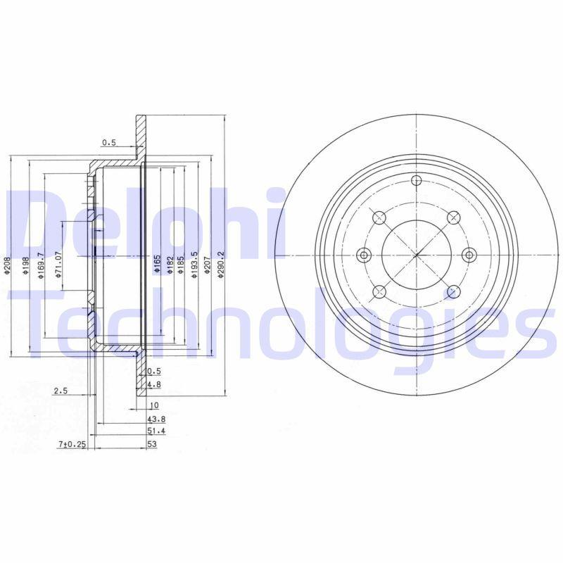 DELPHI  BG2873 Disque de frein Épaisseur du disque de frein: 10mm, Nbre de trous: 4, Ø: 290mm