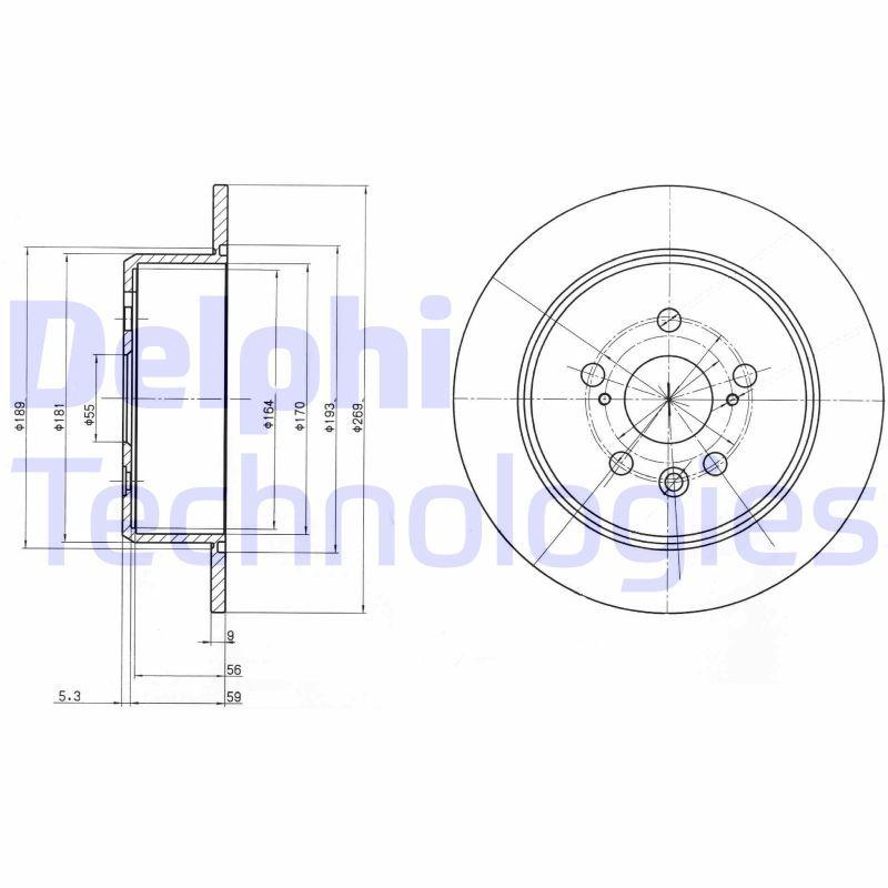 DELPHI  BG2884 Disque de frein Épaisseur du disque de frein: 9mm, Ø: 268mm