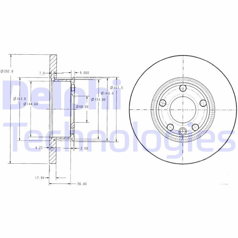 DELPHI  BG2898 Disque de frein Épaisseur du disque de frein: 18mm, Nbre de trous: 5, Ø: 282mm
