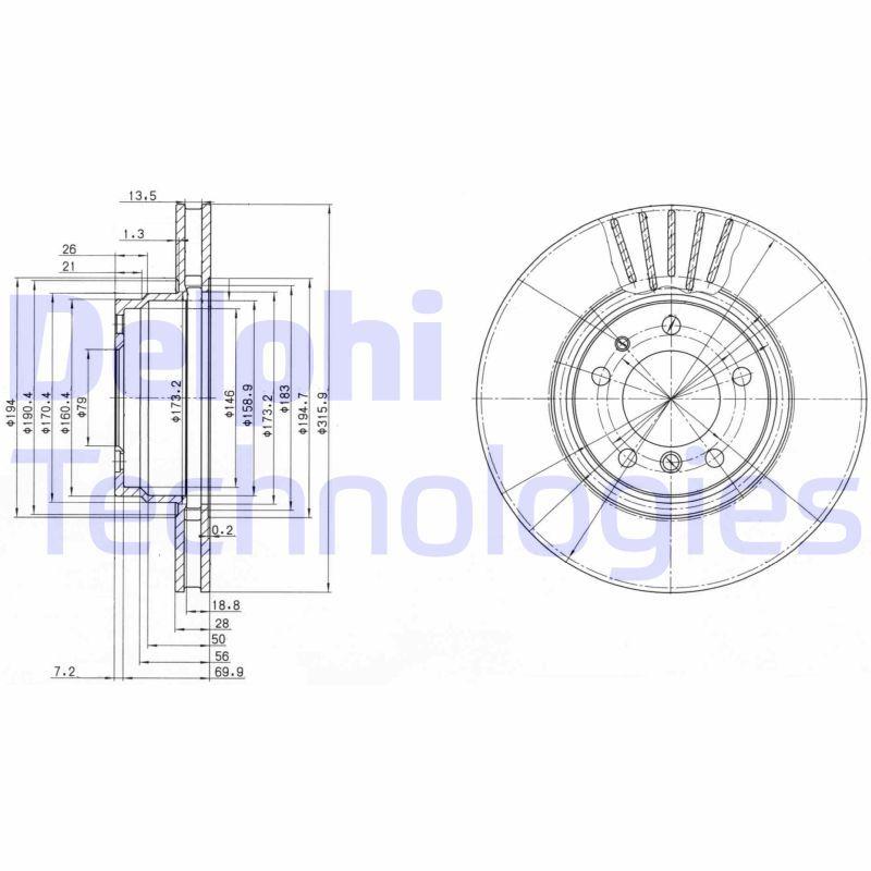 DELPHI  BG3039 Bremsscheibe Bremsscheibendicke: 28mm, Ø: 316mm