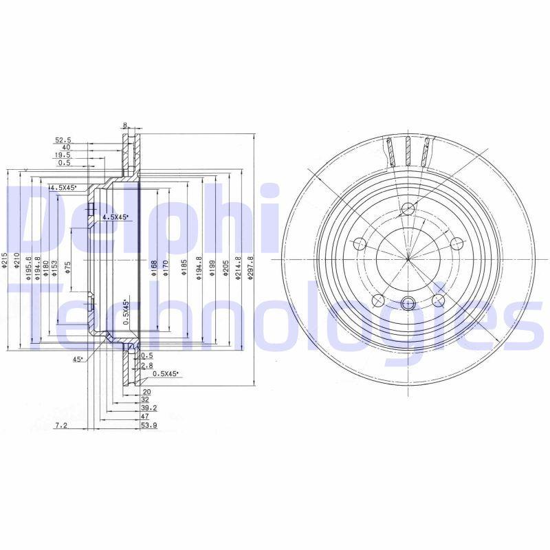 DELPHI  BG3042 Bremsscheibe Bremsscheibendicke: 20mm, Lochanzahl: 5, Ø: 298mm