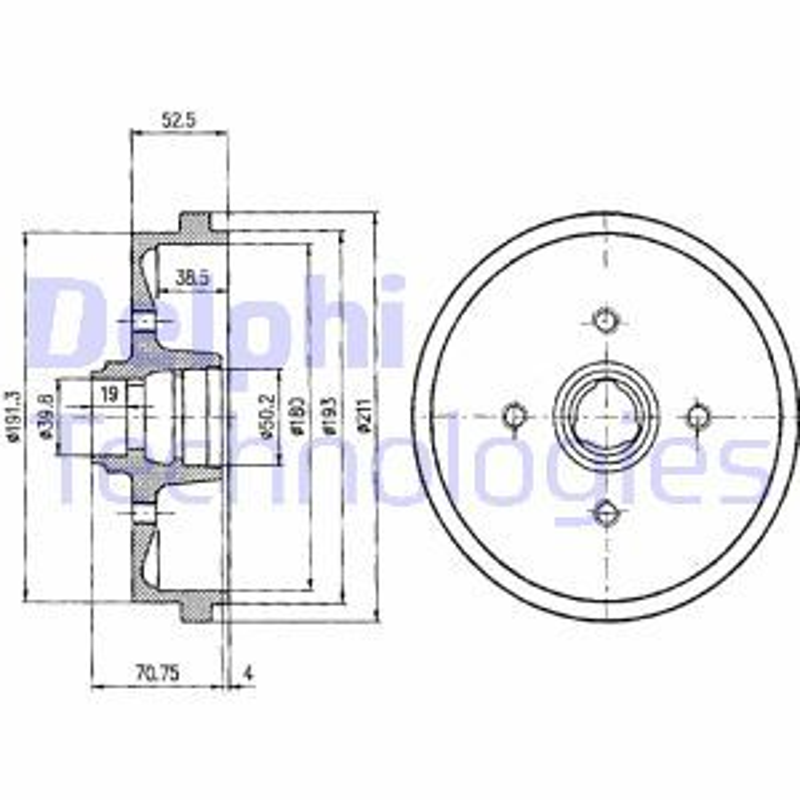 DELPHI  BF96 Bremstrommel Trommel-Ø: 211mm