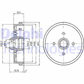 Bremstrommel Trommel-Ø: 211mm mit OEM-Nummer 191 501 615 B