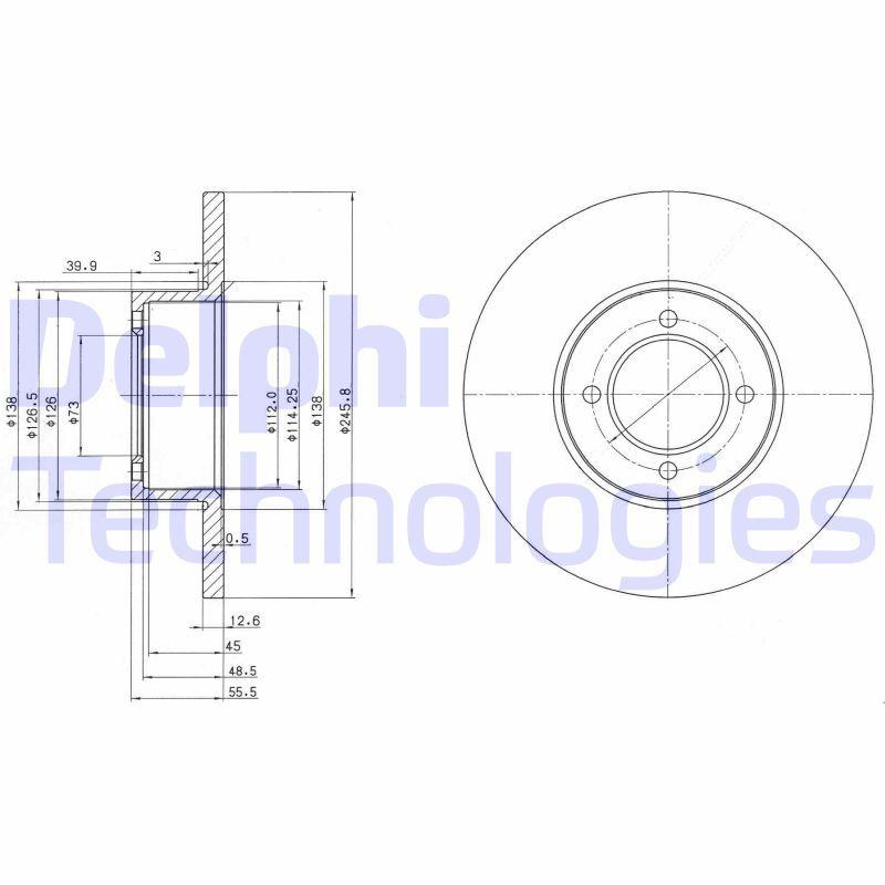 DELPHI  BG2069 Bremsscheibe Bremsscheibendicke: 13mm, Lochanzahl: 4, Ø: 246mm