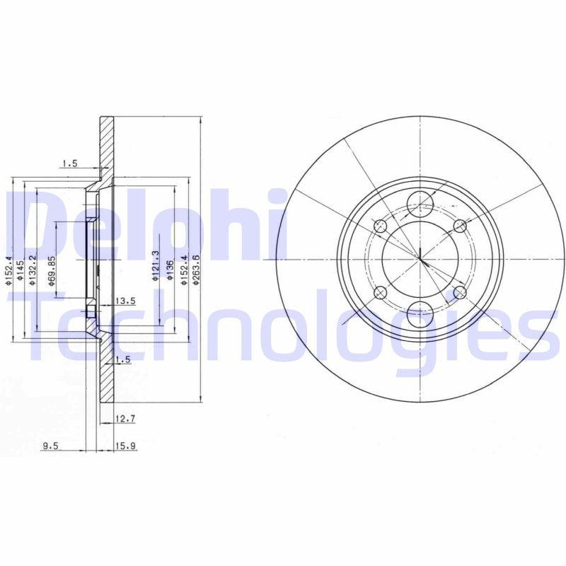 DELPHI  BG2084 Bremsscheibe Bremsscheibendicke: 13mm, Lochanzahl: 4, Ø: 264mm
