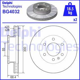 DELPHI  BG4032 Bremsscheibe Bremsscheibendicke: 28mm, Lochanzahl: 6, Ø: 300mm