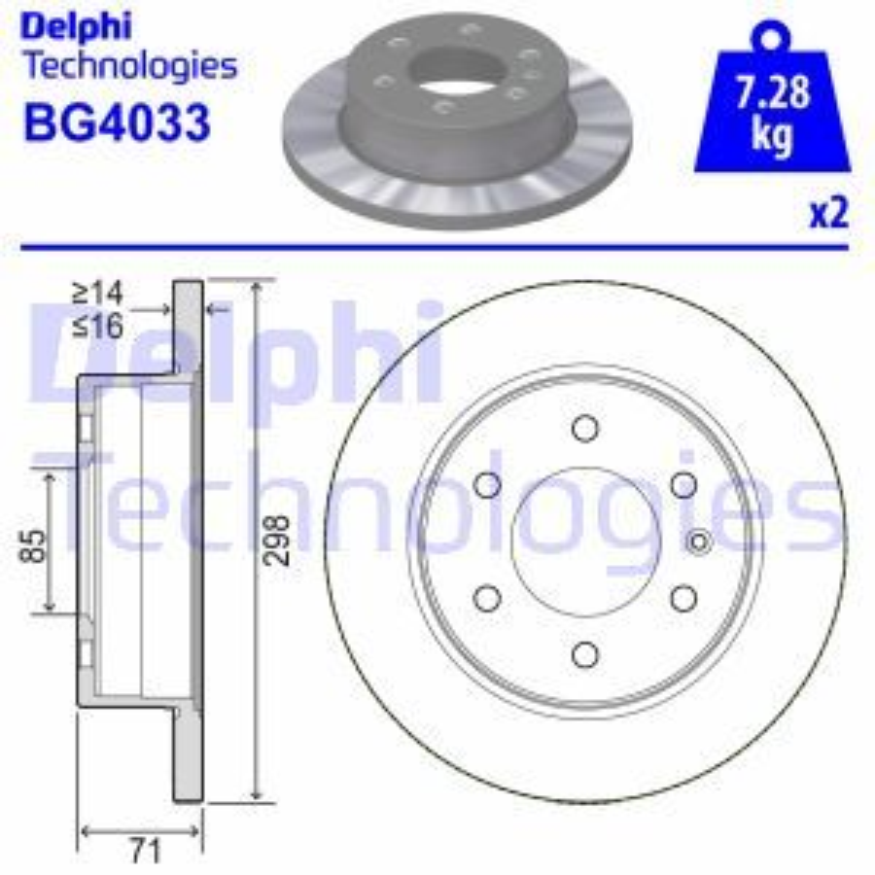 DELPHI  BG4033 Bremsscheibe Bremsscheibendicke: 16mm, Ø: 298mm