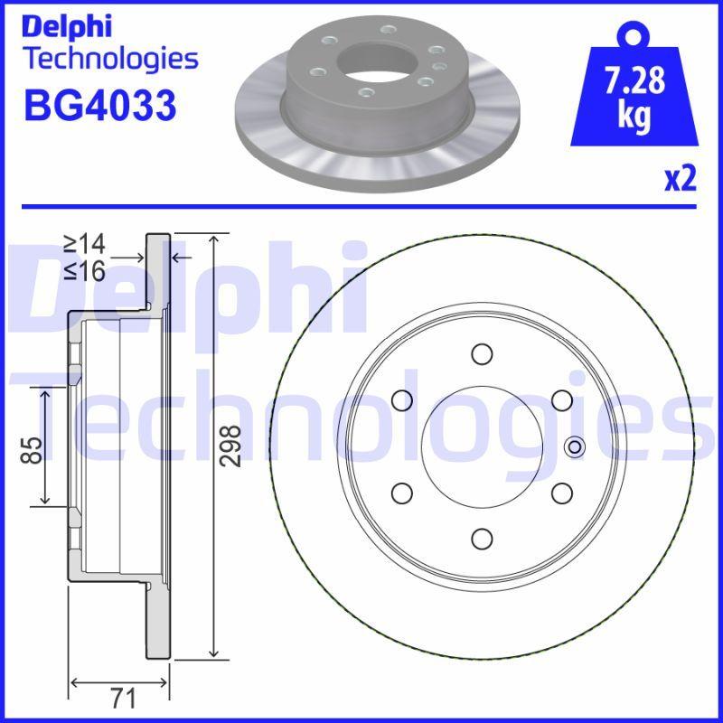 DELPHI  BG4033 Bremsscheibe Bremsscheibendicke: 16mm, Lochanzahl: 6, Ø: 298mm