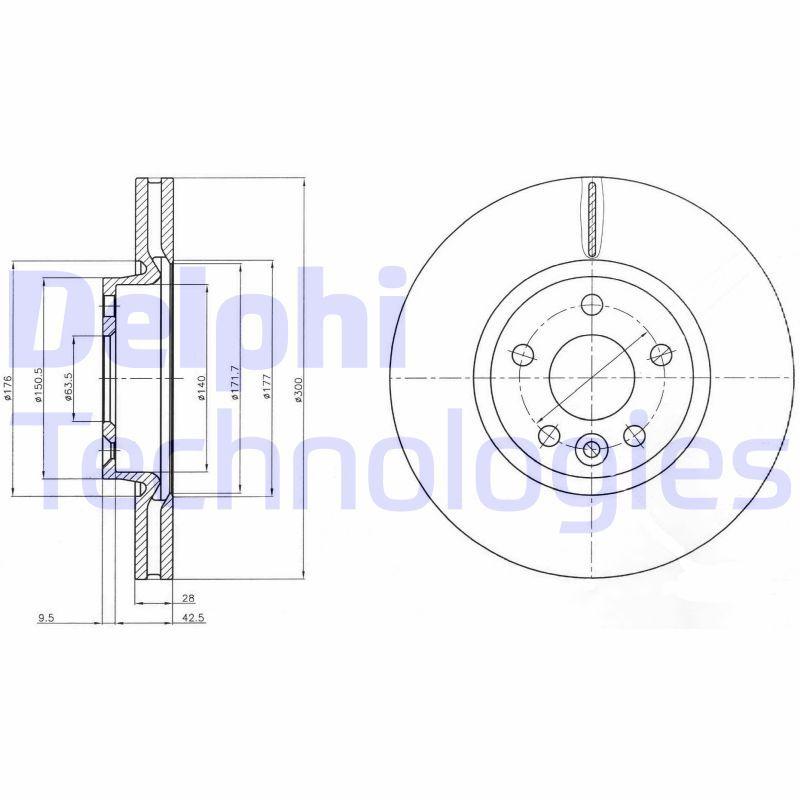 DELPHI  BG4094 Bremsscheibe Bremsscheibendicke: 28mm, Lochanzahl: 5, Ø: 300mm