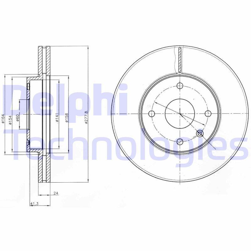 DELPHI  BG4193 Bremsscheibe Bremsscheibendicke: 24mm, Ø: 278mm