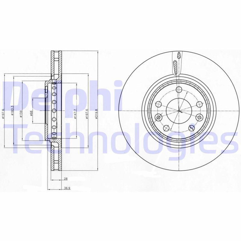 DELPHI  BG4266 Brake Disc Brake Disc Thickness: 28mm, Ø: 320mm