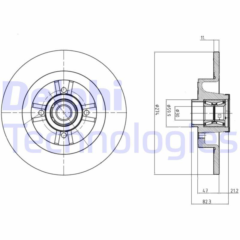 DELPHI  BG9030RS Brake Disc Brake Disc Thickness: 11mm, Ø: 274mm