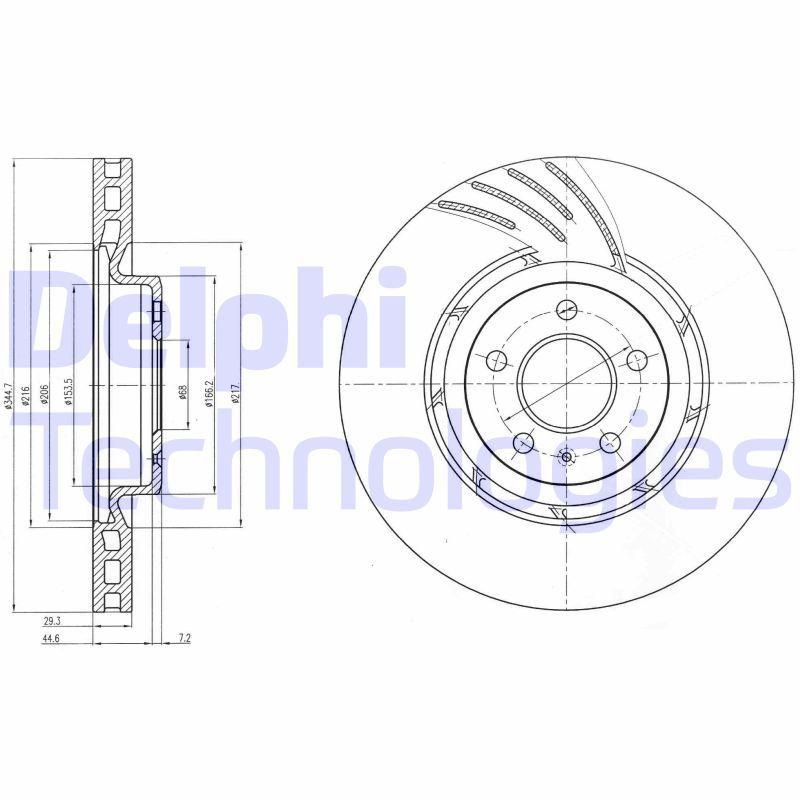 DELPHI  BG9052 Brake Disc Brake Disc Thickness: 30mm, Ø: 345mm