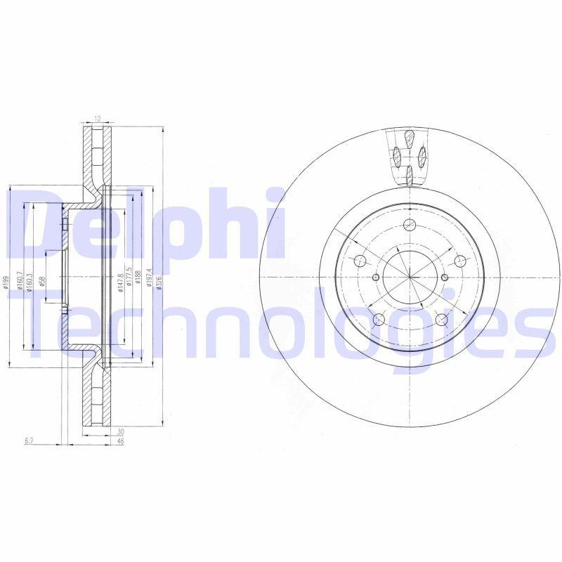 DELPHI  BG9055 Bremsscheibe Bremsscheibendicke: 30mm, Ø: 326mm