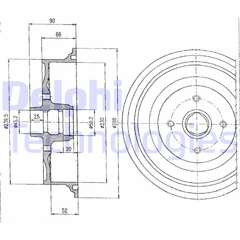 DELPHI  BF182 Bremstrommel