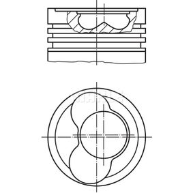 Kolben für VW TRANSPORTER IV Bus (70XB, 70XC, 7DB, 7DW) 2.5 TDI 102 PS ab Baujahr 09.1995 MAHLE ORIGINAL Kolben (030 59 11) für