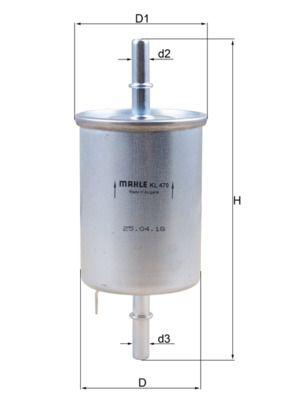 MAHLE ORIGINAL  KL 470 Filtro combustible Altura: 147mm