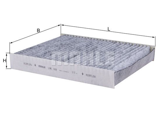 MAHLE ORIGINAL  LAK 169 Filter, Innenraumluft Länge: 241mm, Breite: 190mm, Höhe: 34mm