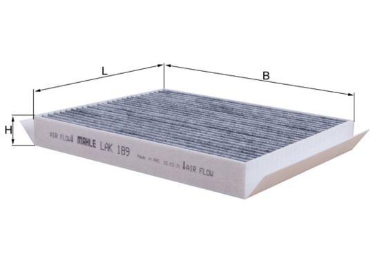 MAHLE ORIGINAL  LAK 189 Filter, Innenraumluft Länge: 210mm, Breite: 239mm, Höhe: 31mm