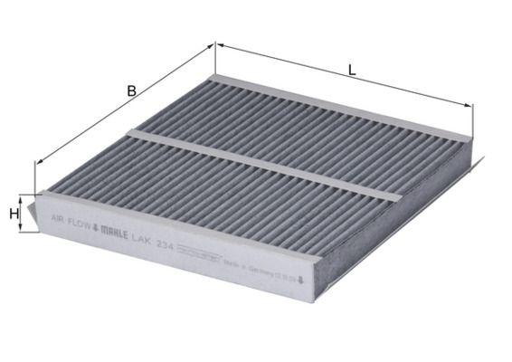 MAHLE ORIGINAL  LAK 234 Filter, Innenraumluft Länge: 231, 233mm, Breite: 246, 247mm, Höhe: 30, 31mm