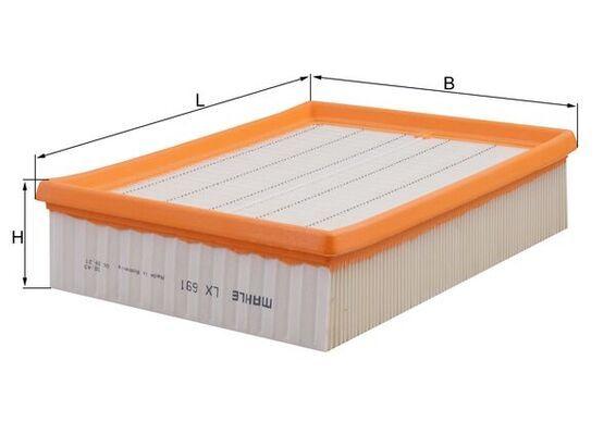 MAHLE ORIGINAL  LX 691 Luftfilter Breite: 188, 188,0mm, Höhe: 57mm, Länge über Alles: 244,0mm, Länge: 188,0mm