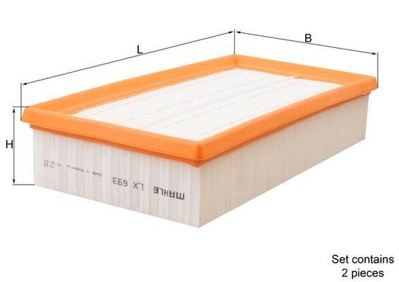 MAHLE ORIGINAL  LX 693/S Luftfilter Breite: 149,5, 150mm, Höhe: 57mm, Länge über Alles: 285,5mm, Länge: 149,5mm