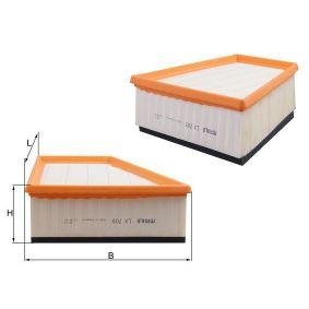 Luftfilter Breite 1: 218,3mm, Höhe: 80,3mm, Länge: 213,0mm mit OEM-Nummer 5Z0 129 620 A