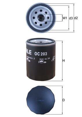 MAHLE ORIGINAL  OC 203 Ölfilter Ø: 76,0mm, Ø: 76,0mm, Höhe: 101mm