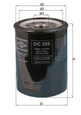 MAHLE ORIGINAL  OC 326 Ölfilter Ø: 89,5mm, Ø: 89,5mm, Höhe: 122mm