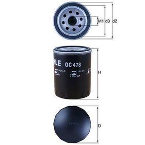 MAHLE ORIGINAL  OC 478 Ölfilter Ø: 76,0mm, Innendurchmesser 2: 62,0mm, Höhe: 101,0mm