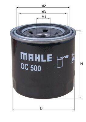 MAHLE ORIGINAL  OC 500 Ölfilter Ø: 76,0mm, Außendurchmesser 2: 63mm, Ø: 76,0mm, Innendurchmesser 2: 56mm, Innendurchmesser 2: 56mm, Höhe: 80mm, Höhe 1: 79mm