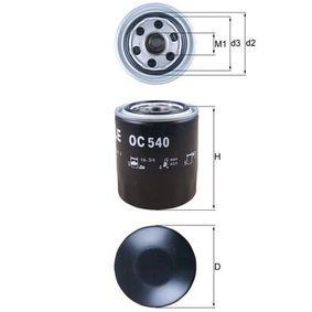 Filtro olio (OC 540) per per Lampadina retronebbia KIA CARNIVAL II (GQ) 2.9 CRDi dal Anno 10.2001 144 CV di MAHLE ORIGINAL