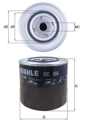 MAHLE ORIGINAL  OC 86 Ölfilter Ø: 108,0mm, Ø: 108,0mm, Höhe: 97mm